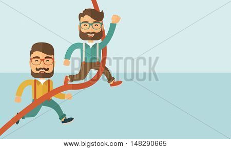 A happy two hipster Caucasian men with beard running to the finish line for meeting the deadline. Winner, victory concept.A contemporary style with pastel palette soft blue tinted background. flat