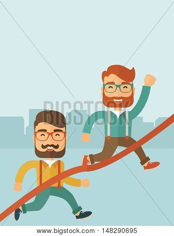 A happy two hipster Caucasian men with beard running to the finish line for meeting the deadline. Winner, victory concept. A contemporary style with pastel palette soft blue tinted background. flat