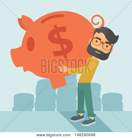 Businessman carries on his two arms his big piggy bank for economy purposes saving money is very important. A contemporary style with pastel palette soft blue tinted background. flat design