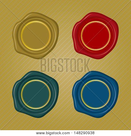 Different color Wax Seals with circular floral frame