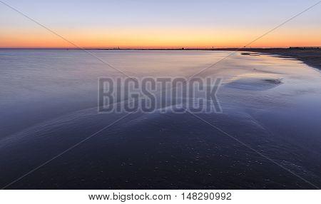 Coast beach in the Caspian Sea near Baku at sunrise.Azerbaijan