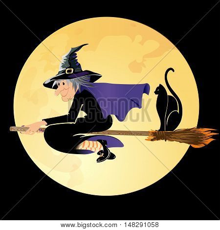 Halloween witch flying with a black cat in a full moon