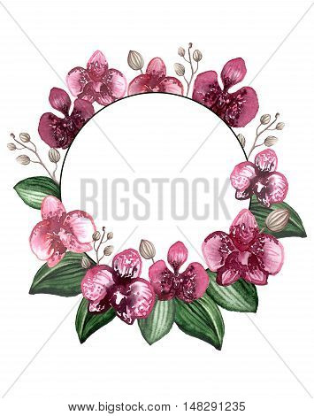 Round Wreath with Watercolor Burgundy Orchids Buds and Deep Green Leaves