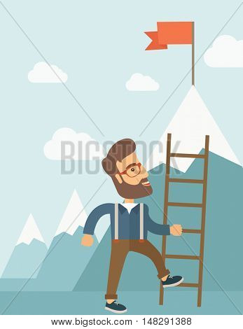 A businessman standing while holding the career ladder getting the red flag his reach his goal to be a successful businessman. Leadership concept. A contemporary style with pastel palette soft blue