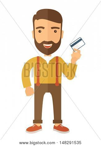A happy hipster Caucasian businessman thankfully standing holding his  credit card a credit card. Fulfillment concept. A contemporary style with pastel palette, beige tinted background. flat design