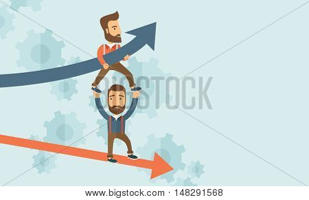 Two hipster Caucasian businessmen with beard with red and blue arrow. Blue is for success and red is for failure in business. Team building. A contemporary style with pastel palette soft blue tinted