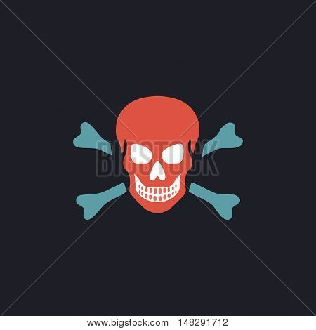 Skull Color vector icon on dark background