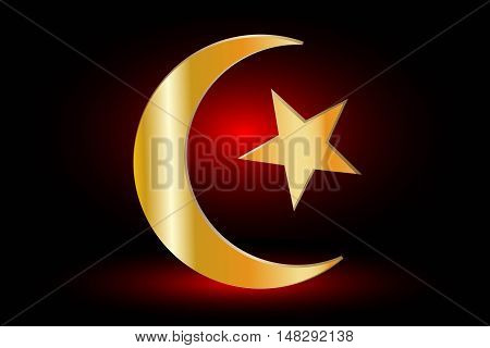 Muslim symbol ,Islam Symbol , Crescent and Star , icon of Islam on a red background