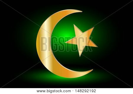 Muslim symbol ,Islam Symbol ,Crescent and Star ,icon of Islam on a green background