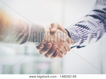 Coworkers Business Meeting Process Sunny Office.Closeup Teamwork Modern Concept.Two Young Bearded Guy Discussing Together Startup Idea.Businessmans Team Working Online Project Desktop.Blurred