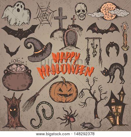 Vector set of sketch Halloween characters with witch hat, cauldron, black cat, bat, pumpkin, candle, spider, house, web, moon. Hand drawn elements for spooky holiday with handwritten lettering.