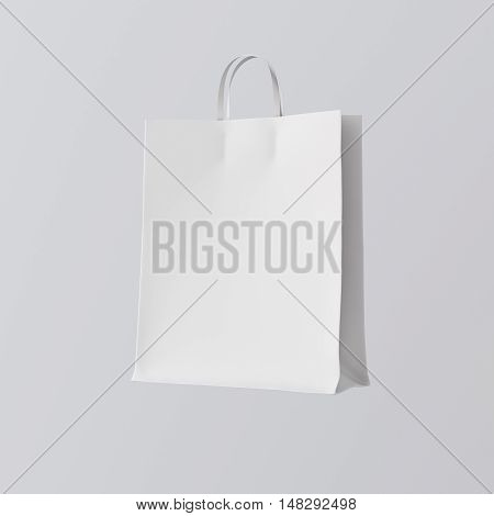 Closeup White Paper Bag Isolated Center Gray Empty Background.Mockup Highly Detailed Texture Materials.Space for Business Text Message. Square. 3D rendering