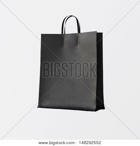 Closeup Black Paper Bag Isolated Center White Empty Background.Mockup Highly Detailed Texture Materials.Space for Business Text Message. Square. 3D rendering