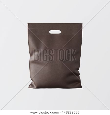 Closeup Brown Leather Small Bag Isolated Center White Empty Background.Mockup Highly Detailed Texture Materials.Space for Business Text Message. Square. 3D rendering