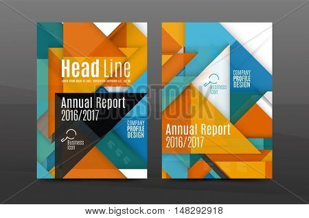 Squares and triangles annual report cover template. Color business brochure template, front page, A4 size, leaflet abstract background, magazine design, flyer layout