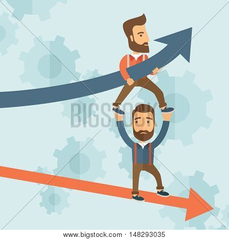 Two hipster Caucasian businessmen with beard with red and blue arrows. Blue is for success and red is for failure in business. Team building. A contemporary style with pastel palette soft blue tinted