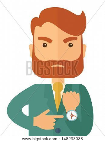 A hipster Caucasian businessman with beard is angry pointing his wristwatch inside the office. Angry concept. A contemporary style. flat design illustration isolated on white background. Vertical