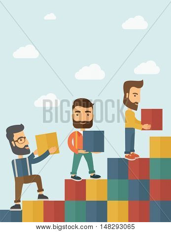 Three hipster Caucasian men with beard carrying blocks putting one by one going up as a sign of increasing sales. Team building concept.  A contemporary style with pastel palette soft blue tinted