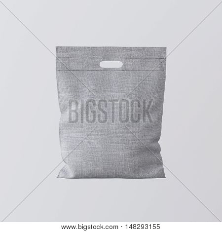 Closeup Gray Color Textile Small Bag Isolated Center White Empty Background.Mockup Highly Detailed Texture Materials.Space for Business Text Message. Square. 3D rendering