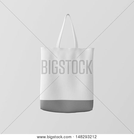 Closeup White Cotton Textile Bag Hanging Center Abstract Empty Background.Isolated Mockup Highly Detailed Texture Materials.Space for Business Message. Square. 3D rendering