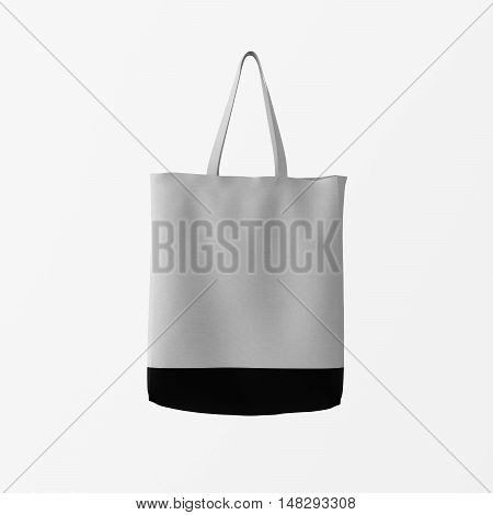 Closeup Gray Cotton Textile Bag Hanging Center White Empty Background.Isolated Mockup Highly Detailed Texture Materials.Space for Business Text. Square. 3D rendering