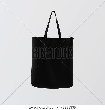 Closeup Natural Brown Cotton Textile Bag Hanging Center White Empty Background.Isolated Mockup Highly Detailed Texture Materials.Space for Business Inforamation. Square. 3D rendering