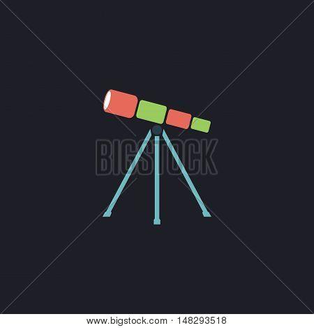 Telescope Color vector icon on dark background