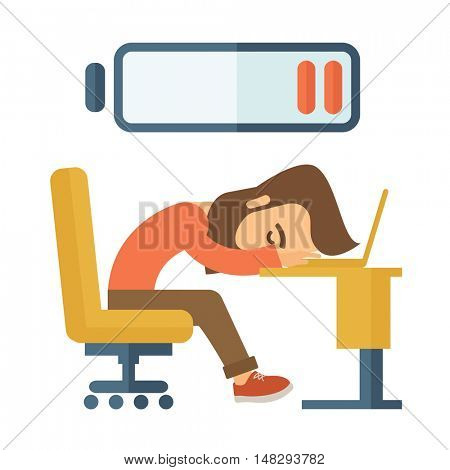 Young tired employee sitting, lying on his table with low power sign on the top of his head need rest, vacation, holiday. flat design illustration isolated on white background. Vertical layout with