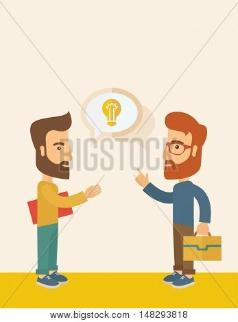 Two hipster Caucasian friends with beard standing  planning and sharing brilliant ideas with their hands raising on what kind of business they want to build up.  Human intelligence concept. A