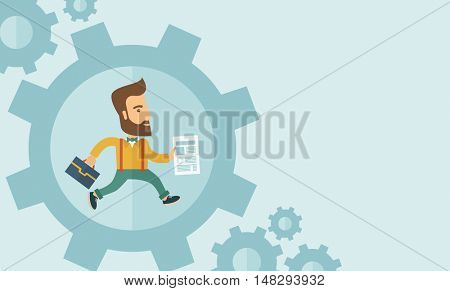 The man with a beard is running inside the gear. Business in action concept.  flat design Illustration. Horisontal layout with a text space in a right.
