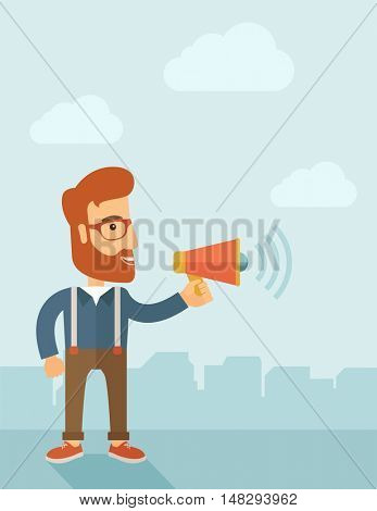 The businessman with a beard shouting in megaphone. Social media marketing concept.   flat design illustration. Vertical layout with a text space in a top.