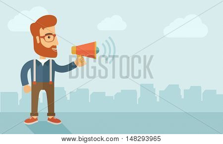The businessman with a beard shouting in megaphone. Social media marketing concept.   flat design illustration. Horizontal layout with a text space in a right.