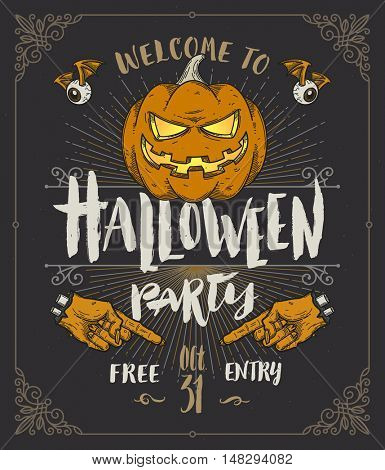 Halloween poster or invitation. Vector illustration with hand drawn brush type design and  line art pumpkin.