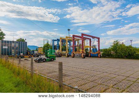 CZECH REPUBLIC, MOST, 1 JULY, 2016:Industrial cranes