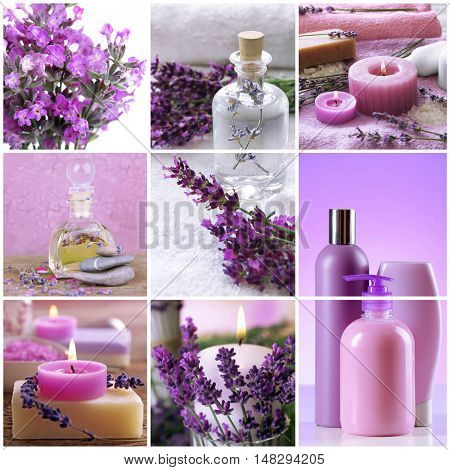 Collage of cosmetic products and spa compositions. Beauty treatment concept.