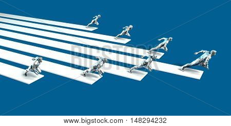 Excellence Concept with Team of Business People Running Together 3d Illustration Render
