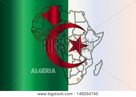 Algeria outline inset into a map of Africa over a Algeria flag background