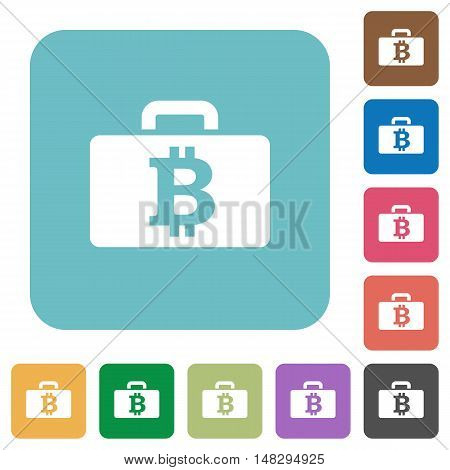 Flat Bitcoin bag icons on rounded square color backgrounds.