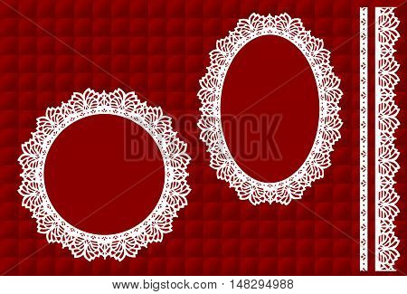 Lace Doily Picture Frames, vintage lace ribbon trim, crimson red satin quilt background, round, oval antique designs, copy space for Christmas, Valentine's Day. EPS8 includes quilt pattern swatch that will seamlessly fill any shape.