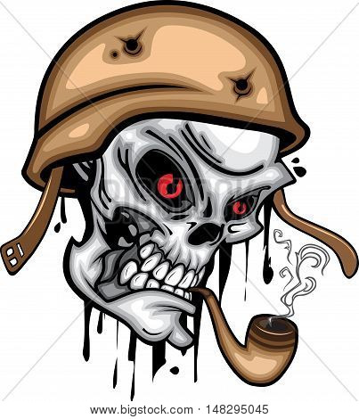 Skull head with cigar pipe, smoke, helmet, and hookah red eye 3d vector on white background