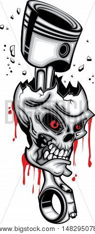 Skull head piston wrecked red eye 3d vector with blood on white background