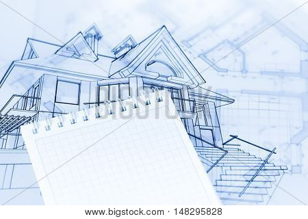 architecture drawing - house & notepad