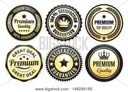 Six Golden and Black Premium Quality Badges