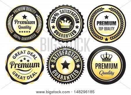 Six Golden and Black Premium Quality Badges