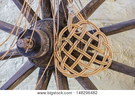 wooden wheel and beater in the farm
