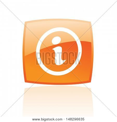 Glossy info in orange button isolated on white