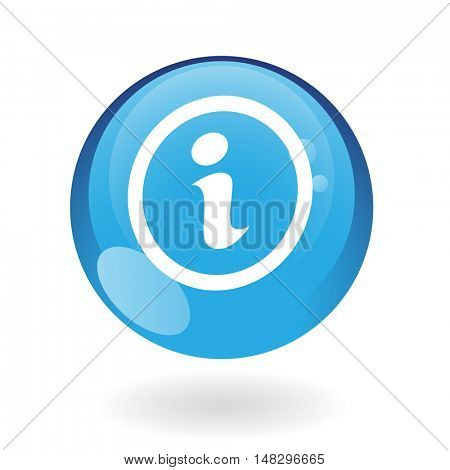 Glossy info in blue button isolated on white