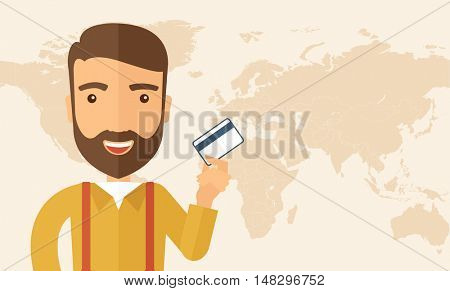 A happy hipster Caucasian businessman thankfully standing holding his a credit card. Fulfillment concept. A contemporary style. flat design illustration isolated on white background. Horizontal layout
