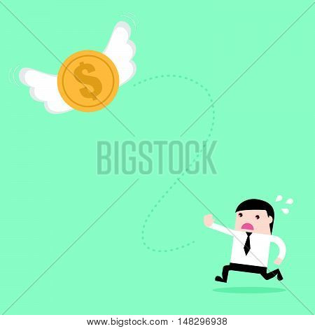 Money Fly Out Of Businessman
