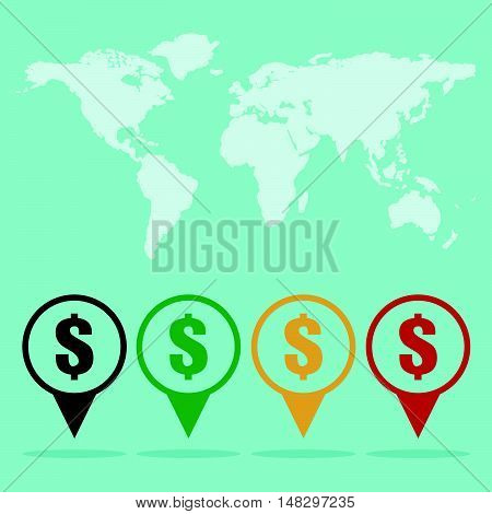 Money Location Sign Icon With World Map